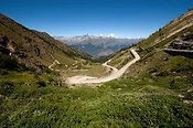 High mountian pass from Fenestrelle to Susa in Italian Alps.