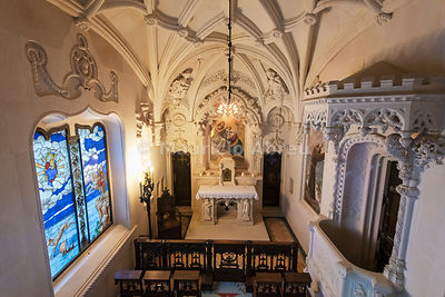 Interior of the Chapel at the Palace in the Quinta da Regaleira, by the architect Luigi Manini (1900). Sintra, Portugal
