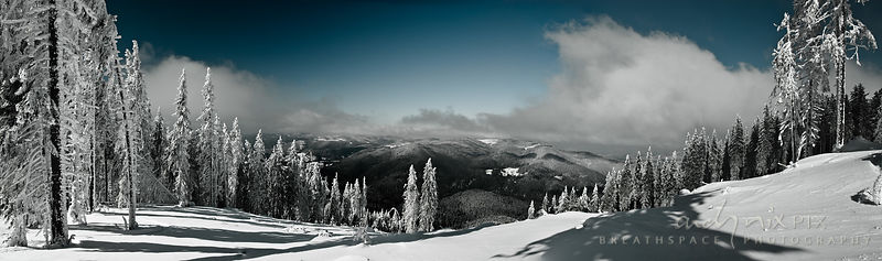 A view from Pamporovo Ski Resort, of the snow covered Rhodope  Mountains on the border between Bulgaria and Greece.