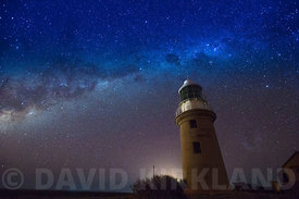 Exmouth Lighthouse with star-filled sky in Western Australia