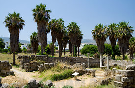 Remains of Early Christian Basilica, The Agora, Kos Town, Kos Island, Greece.