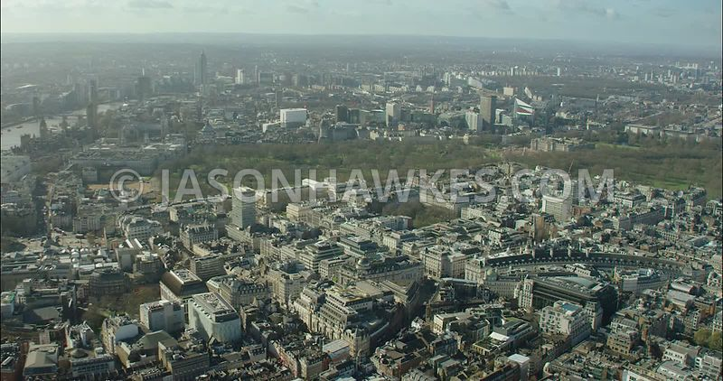 London Aerial Footage of St James's  with Piccadilly and Regent Street.
