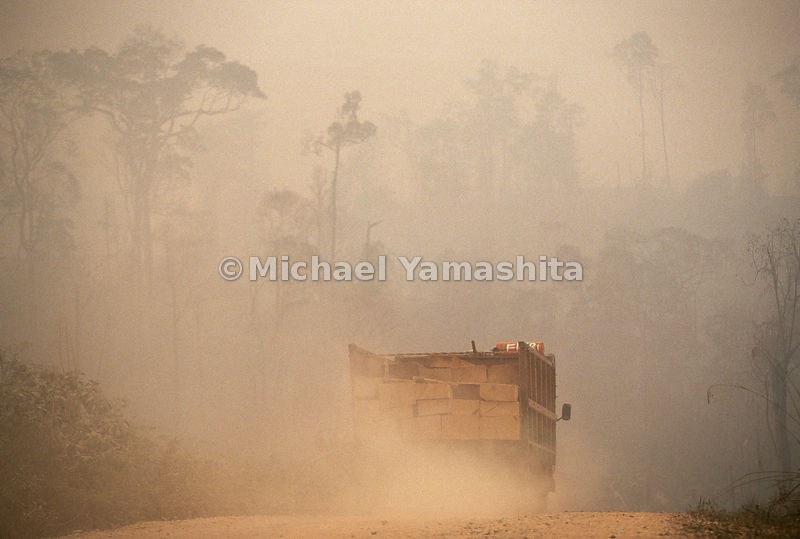 A truck leaves behind a cloud of dirt as it travels to it's destination.