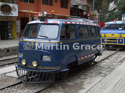 A Volkswagen Camper that has been converted to run on the railway, Aguas Calientes, Peru