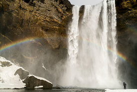 Seljalandsfoss Waterfall on Iceland's south coast.  This waterfall of the river Seljalandsá drops 60 metres (200 ft) over the cliffs of the former coastline.