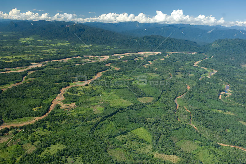 Aerial view of Ichilo River where it reaches the plain after coming down from the Andes, dry season, Santa Cruz Department, Bolivia.