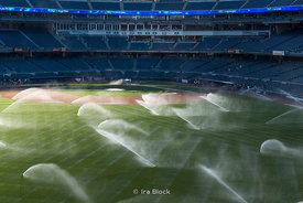 The field at Yankee Stadium being watered after a game.