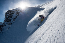 Steep powder turn with Charles Navillod