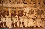 Medinet Habu, bas-relief depicting religious ceremonies in the second court, Ancient Thebes, Luxor, Egypt