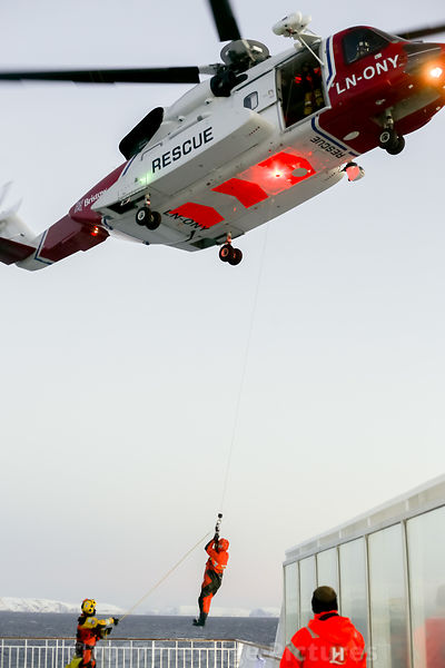 "Search & Rescue Exercise above the Hurtigruten Ship ""Richard With"""