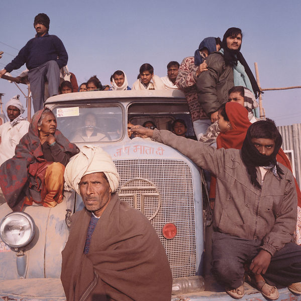 Pilgrims on their bus at the Kumbh Mela