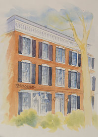 The Bank_Preston House, original watercolor illustration, 17 x 21