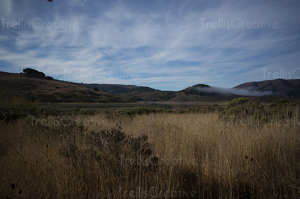 Dry grasslands with mountain landscapes and wispy clouds
