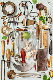 Collection of old vintage cutlery