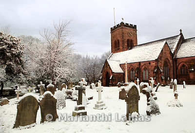 St Bridget's church in snow