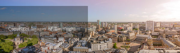 A cityscape of Birmingham city centre, England.