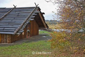 The Cathlapotle Plankhouse, a representation of a traditional native dwelling seen near here by Lewis and Clark, Ridgefield National Wildlife Refuge, Ridgefield, Washington, USA, November, 2008_WA_1588