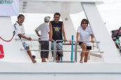 The workers on the finish boat. Phuket King's Cup 2016.