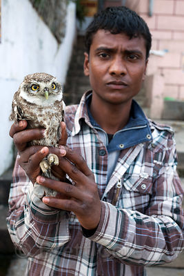 A likely con-man holds an owl at Assi Ghat, Varanasi, India. He was telling tourists he would permanently set the owl free for $20 US.