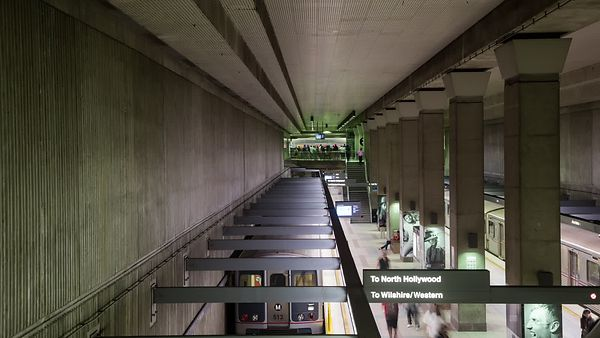 Medium Shot: Above L.A. Metro's Busy Red Line Platform