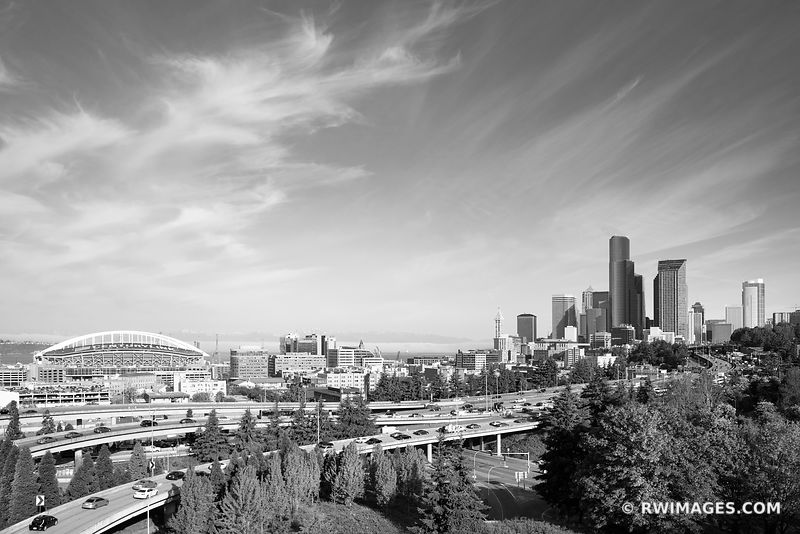 DOWNTOWN SEATTLE SKYLINE  SEATTLE WASHINGTON BLACK AND WHITE