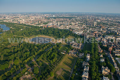 Aerial view Kensington and Hyde park, London