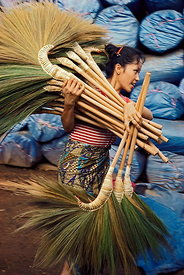 Girl carrying brooms
