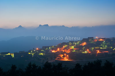 The old and traditional village of Pitoes das Junias at twilight. Peneda Geres National Park. Portugal