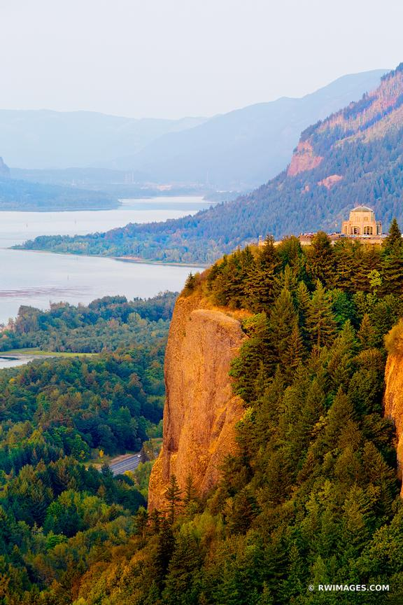 VISTA HOUSE CROWN POINT AT SUNSET FROM CHANTICLEER POINT COLUMBIA RIVER GORGE OREGON VERTICAL