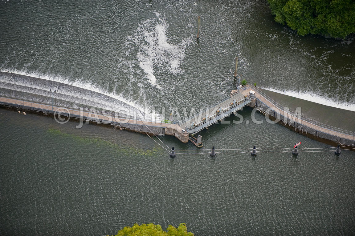 Aerial view of weir on River Thames