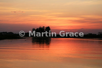 Golden glow of the River Piquiri at dawn, North Pantanal, Mato Grosso, Brazil