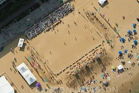 Aerial photograph of the National Sand Soccer Championship