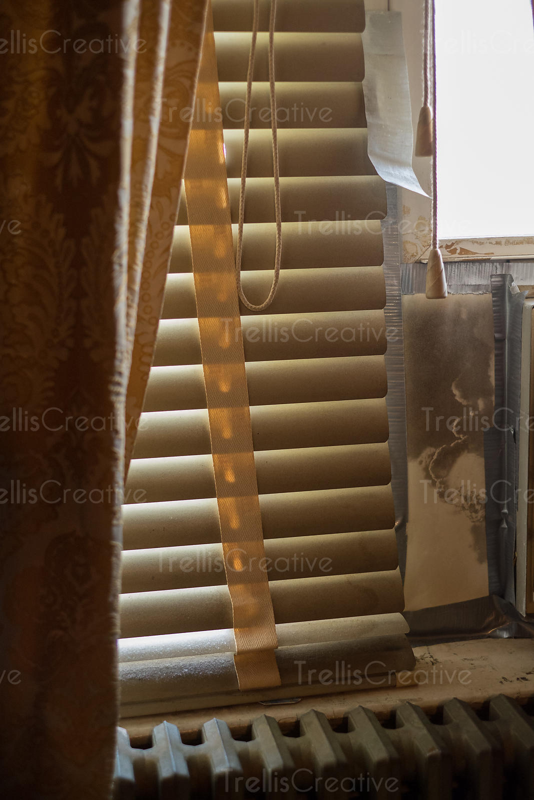 Close-up of blinds and curtain