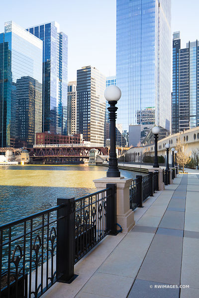CHICAGO RIVER RIVERSIDE WALKWAY CHICAGO ILLINOIS COLOR VERTICAL