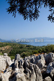 View from Meghas Birnos Hill near Spartohori  to the island of Lefkas and mainland Greece, Ionian Islands, Greece.