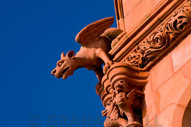 Detail of Gargoyle on Pierhead Building, Cardiff Bay, Cardiff, South Wales, UK.