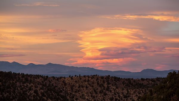 Wide Shot: Sunset Over Rare Sierra Lenticular Wave