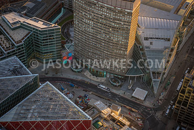 Aerial view of London, close up of roof tops Bressenden Place.