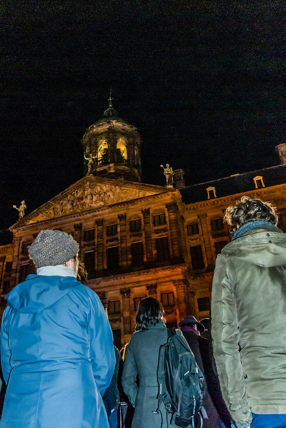 Amsterdam, Netherlands 2015-01-08: A minute of silence in solidarity with the victims and survivors of the terrorist attack in Paris.