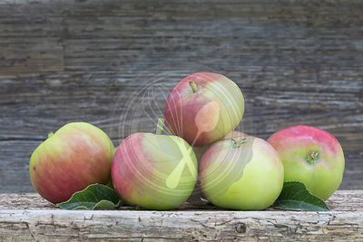 group of red and green apples on rustic wood shot outdoors