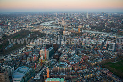 Aerial view of Westminster at dusk, London
