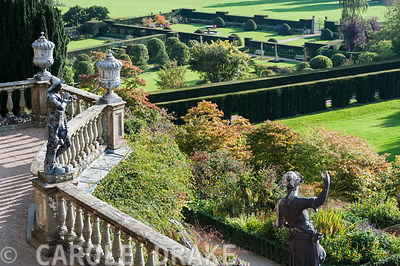 View from the Aviary Terrace with its C18th lead figures to the Formal and Fountain gardens beyond