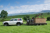 4x4 vehicle and trailer picking up a hot air balloon from field after a flight, Cumbria, UK.