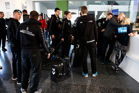 Players of PPD Zagreb during the Final Tournament - Final Four - SEHA - Gazprom league, team arrival in Varazdin, Croatia, 31.03.2016, ..Mandatory Credit ©SEHA/Zsolt Melczer..