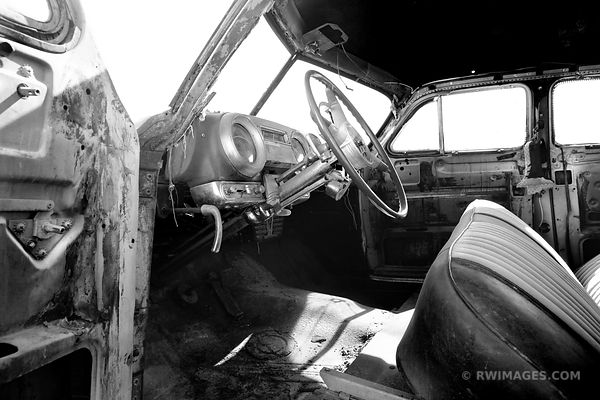 OLD CAR INTERIOR ROUTE 66 ARIZONA BLACK AND WHITE