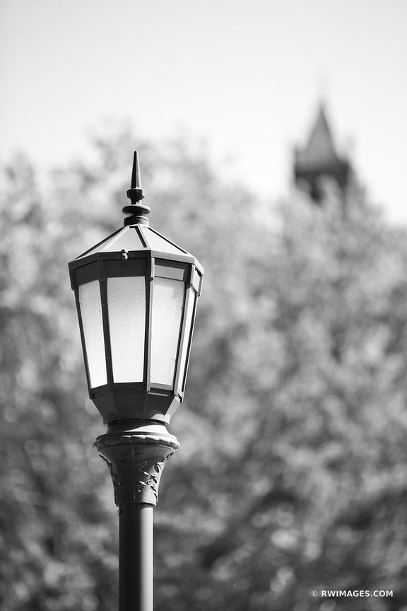 STREET LAMP BURLINGTON VERMONT BLACK AND WHITE VERTICAL