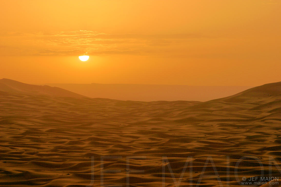 Sunrise over Merzouga dunes