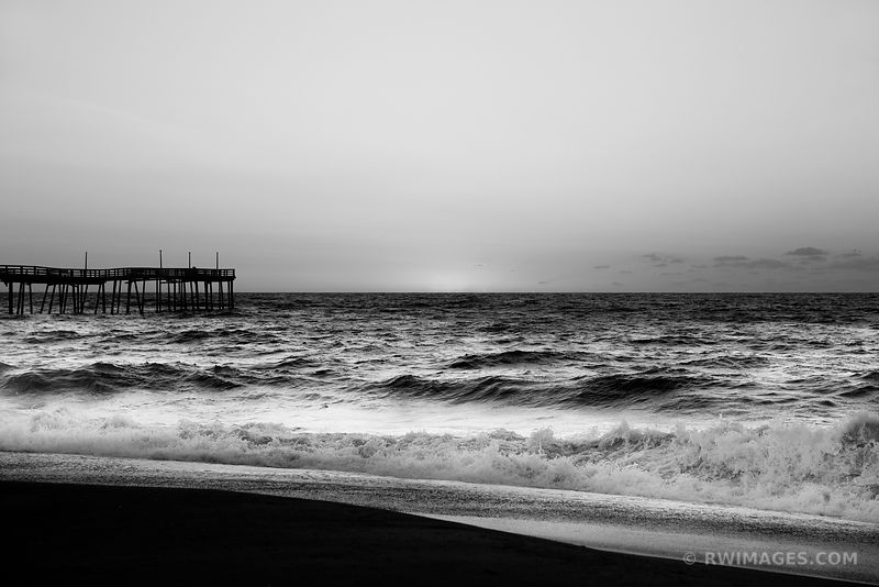 BEFORE SUNRISE ATLANTIC OCEAN OUTER BANKS NORTH CAROLINA BLACK AND WHITE