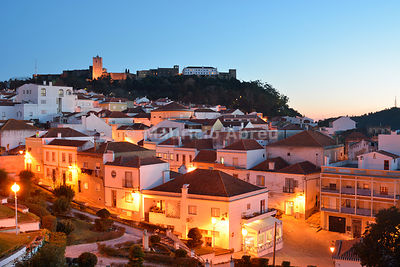 Palmela and the medieval castle at dusk. Portugal