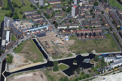 aerial photograph of the New Islington development area in  Manchester  England UK.